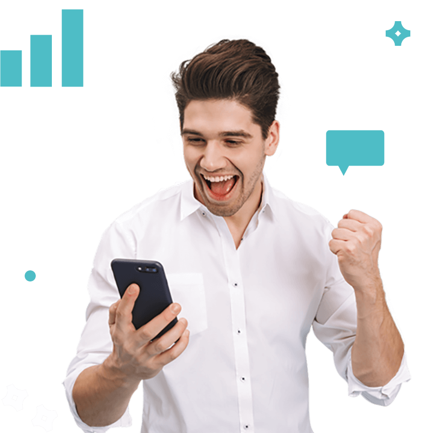 Man looking at phone cheering surrounded by icon illustrations